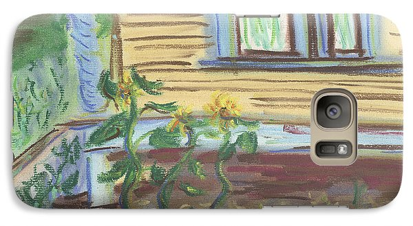 Galaxy Case featuring the pastel Three Sunflowers By The Porch by Denny Morreale