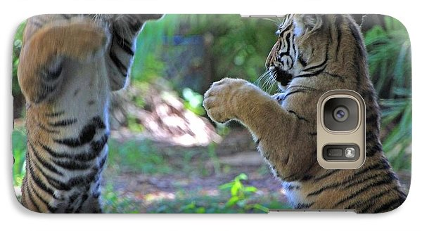Galaxy Case featuring the photograph Tiger Cubs Boxing by Larry Nieland