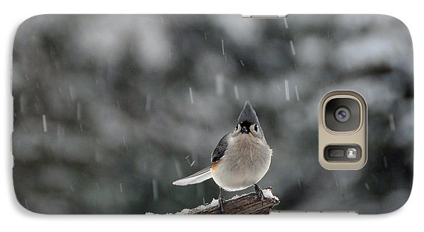 Galaxy Case featuring the photograph Titmouse Endures Snowstorm by Mike Martin
