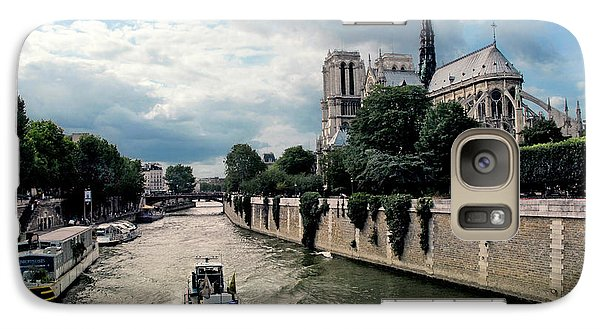 Galaxy Case featuring the photograph Tour Boat Passing Notre Dame by Dave Mills
