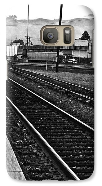 Galaxy Case featuring the photograph train tracks - Black and White by Bill Owen