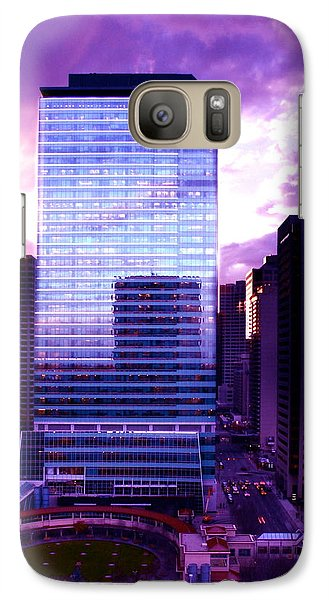 Galaxy Case featuring the photograph Transalta Building Purple by JM Photography