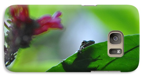 Galaxy Case featuring the photograph Tree Frog Peeking Over Leaf by Jodi Terracina