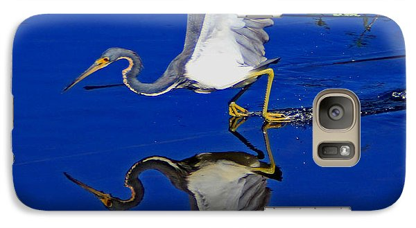 Galaxy Case featuring the photograph Tri-color Heron Water Ski by Larry Nieland