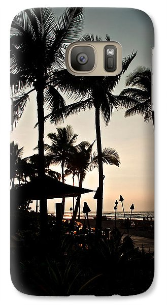 Galaxy Case featuring the photograph Tropical Island Silhouette Beach Sunset by Valerie Garner