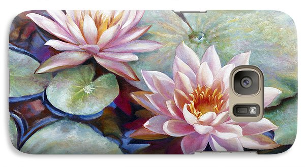 Galaxy Case featuring the painting Twin Water Lilies And Reflection by Nancy Tilles