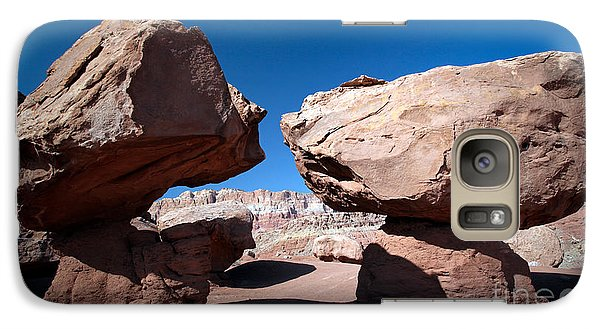 Galaxy Case featuring the photograph Two Balancing Boulders In The Desert by Karen Lee Ensley