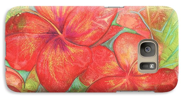 Galaxy Case featuring the painting Two Hibiscus Blossoms by Carla Parris