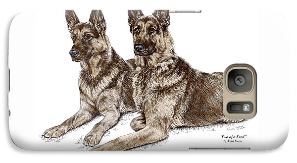 Galaxy Case featuring the drawing Two Of A Kind - German Shepherd Dogs Print Color Tinted by Kelli Swan