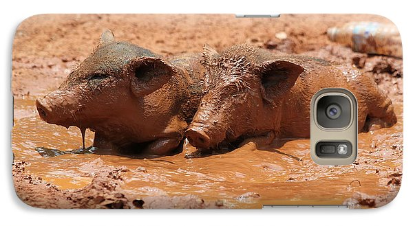 Galaxy Case featuring the photograph Two Pigs In A Puddle by Nola Lee Kelsey
