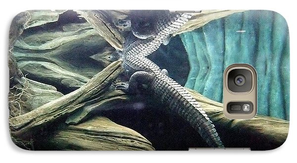 Galaxy Case featuring the photograph Underwater Reflection Of An Alligator Surfacing by Jim Fitzpatrick