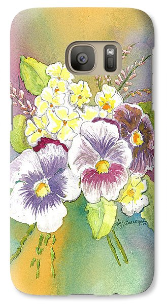 Galaxy Case featuring the painting Vibrant Panseys by Joy Braverman