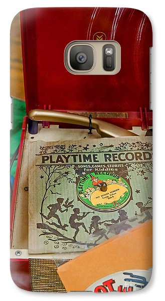 Galaxy Case featuring the photograph Vintage 45 Record Player And Record Albums by Valerie Garner