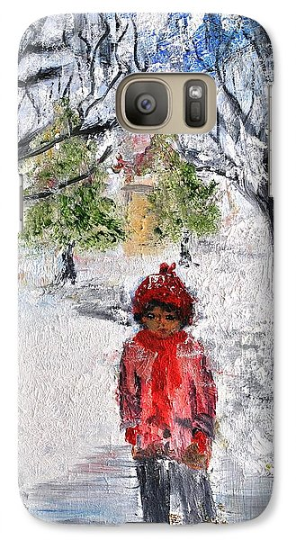 Galaxy Case featuring the painting Walking Alone by Evelina Popilian