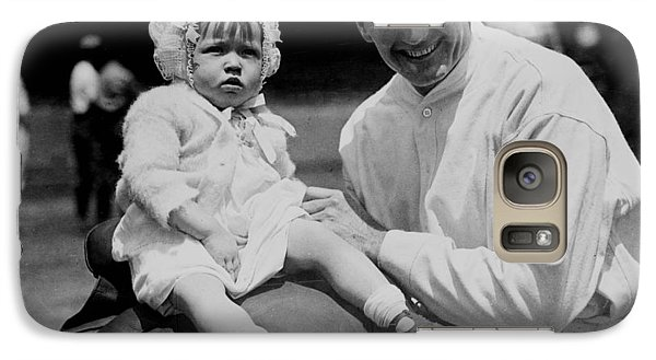 Galaxy Case featuring the photograph Walter Johnson Holding A Baby - C 1924 by International  Images