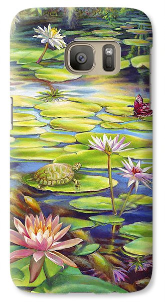 Galaxy Case featuring the painting Water Lilies At Mckee Gardens I - Turtle Butterfly And Koi Fish by Nancy Tilles