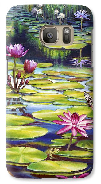 Galaxy Case featuring the painting Water Lilies At Mckee Gardens II - Butterfly And Frog by Nancy Tilles