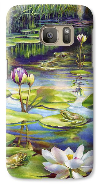 Galaxy Case featuring the painting Water Lilies At Mckee Gardens IIi - Alligator And Frogs by Nancy Tilles