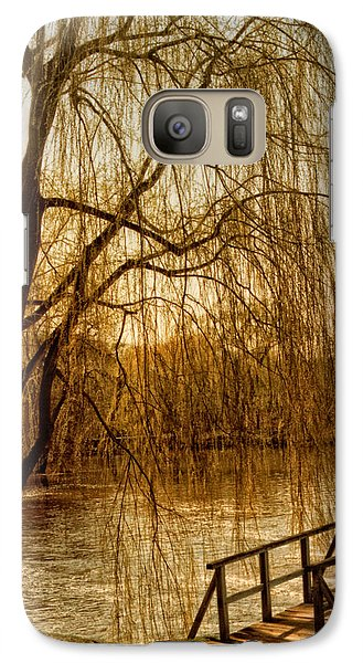 Galaxy Case featuring the photograph Weeping Willow And Bridge by Barbara Middleton