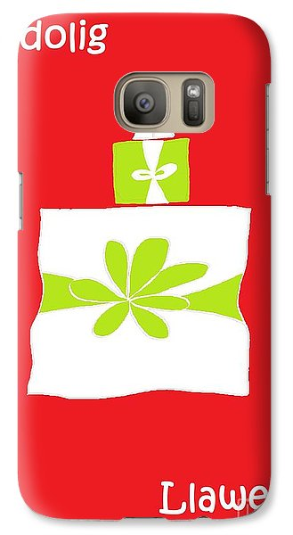 Galaxy Case featuring the digital art Welsh Merry Christmas Red by Barbara Moignard