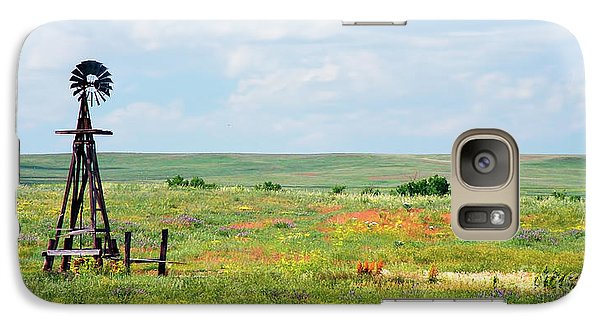 Galaxy Case featuring the photograph Western Kansas Wooden Windmill  by Michael Flood