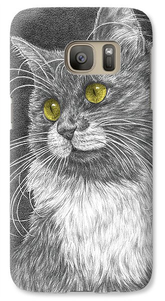 Galaxy Case featuring the drawing Whiskers - Color Tinted Art Print by Kelli Swan