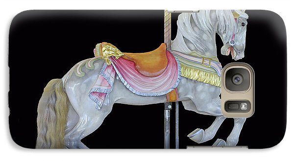 Galaxy Case featuring the photograph White Dappled Carousel Horse by Cindy Lee Longhini
