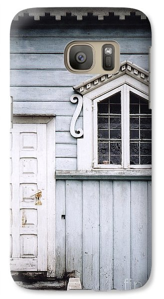 Galaxy Case featuring the photograph White Doors And Window On Bluish Wooden Wall by Agnieszka Kubica