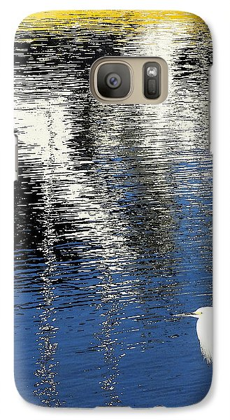 Galaxy Case featuring the digital art White Egret On Dock With Colorful Reflections by Anne Mott