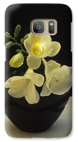 Galaxy Case featuring the photograph White Freesias In Black Vase by Susan Rovira