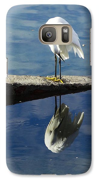 Galaxy Case featuring the digital art White Heron by Anne Mott