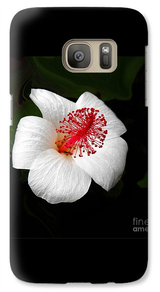 Galaxy Case featuring the photograph White Hibiscus Flower by Rebecca Margraf