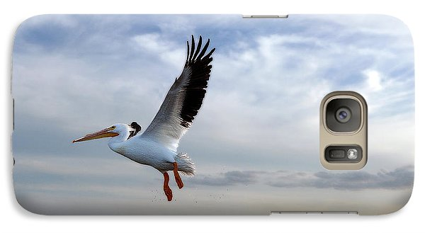 Galaxy Case featuring the photograph White Pelican Flying Over Island by Dan Friend