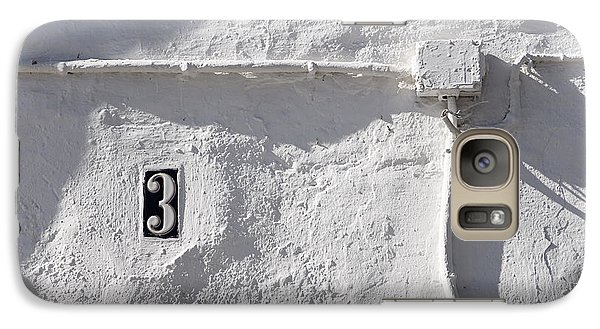 Galaxy Case featuring the photograph White Wall With Number 3 Plate by Agnieszka Kubica