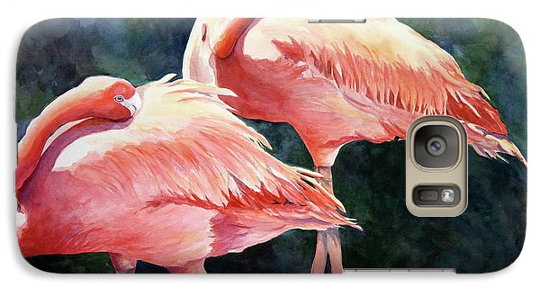 Galaxy Case featuring the painting Who's Peek'n - Flamingos by Roxanne Tobaison