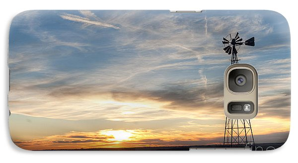 Galaxy Case featuring the photograph Windmill And Sunset by Art Whitton