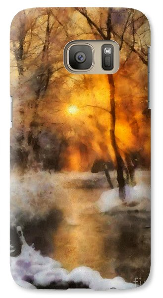 Galaxy Case featuring the painting Winter Sunset by Elizabeth Coats