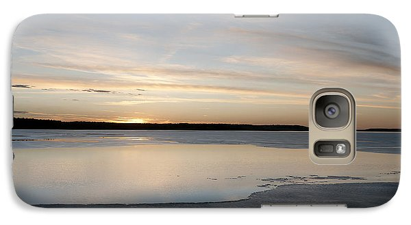 Galaxy Case featuring the photograph Winter Sunset Over Lake by Art Whitton