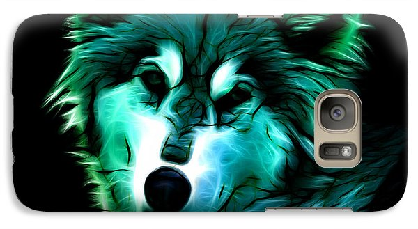 Galaxy Case featuring the digital art Wolf - Cyan by James Ahn