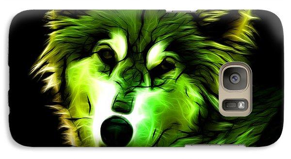 Galaxy Case featuring the digital art Wolf - Green by James Ahn