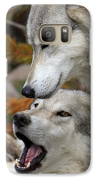 Galaxy Case featuring the photograph Wolf Talk by Steve McKinzie
