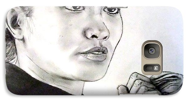 Galaxy Case featuring the drawing Woman's Boxing Champion Filipino American Ana Julaton by Jim Fitzpatrick