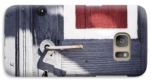 Galaxy Case featuring the photograph Wooden Doors With Handle In Blue by Agnieszka Kubica