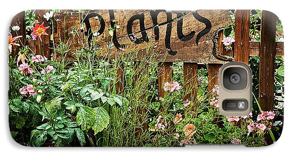 Garden Galaxy S7 Case - Wooden Plant Sign In Flowers by Simon Bratt Photography LRPS