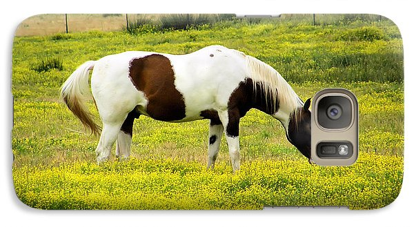 Galaxy Case featuring the photograph Yellow Fields Horse by Wendy McKennon