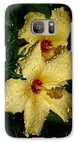 Galaxy Case featuring the photograph Yellow Hibiscus After The Rain by Renee Trenholm