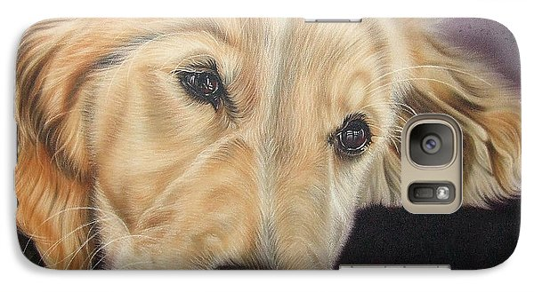 Galaxy Case featuring the painting Yellow Lab by Dan Menta