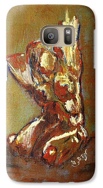 Galaxy Case featuring the painting Yellow Orange Expressionist Nude Female Figure Statue Coming Alive Bold Anatomy Painting by MendyZ M Zimmerman