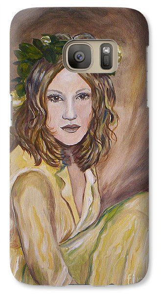 Galaxy Case featuring the painting Yellow Rose by Julie Brugh Riffey