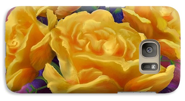 Galaxy Case featuring the painting Yellow Roses Floral Art by Judy Filarecki